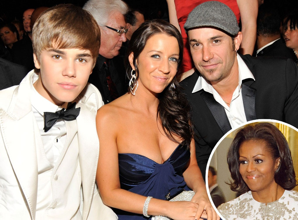Justin Bieber, Pattie Mallette, Jeremy Bieber, Michelle Obama
