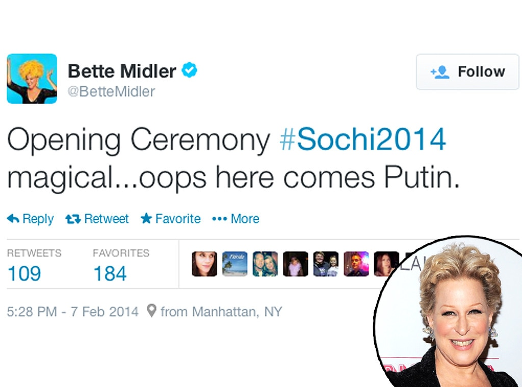 Bette Midler, Twitter, Olympic Tweets