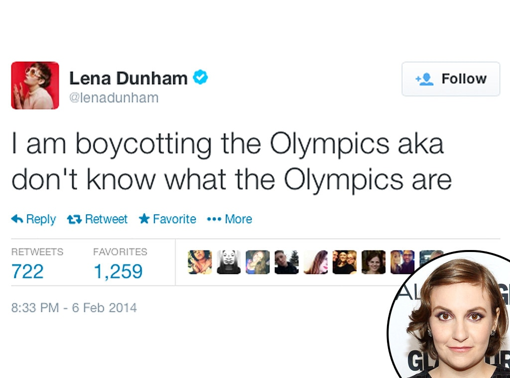 Lena Dunham, Twitter, Olympic Tweets