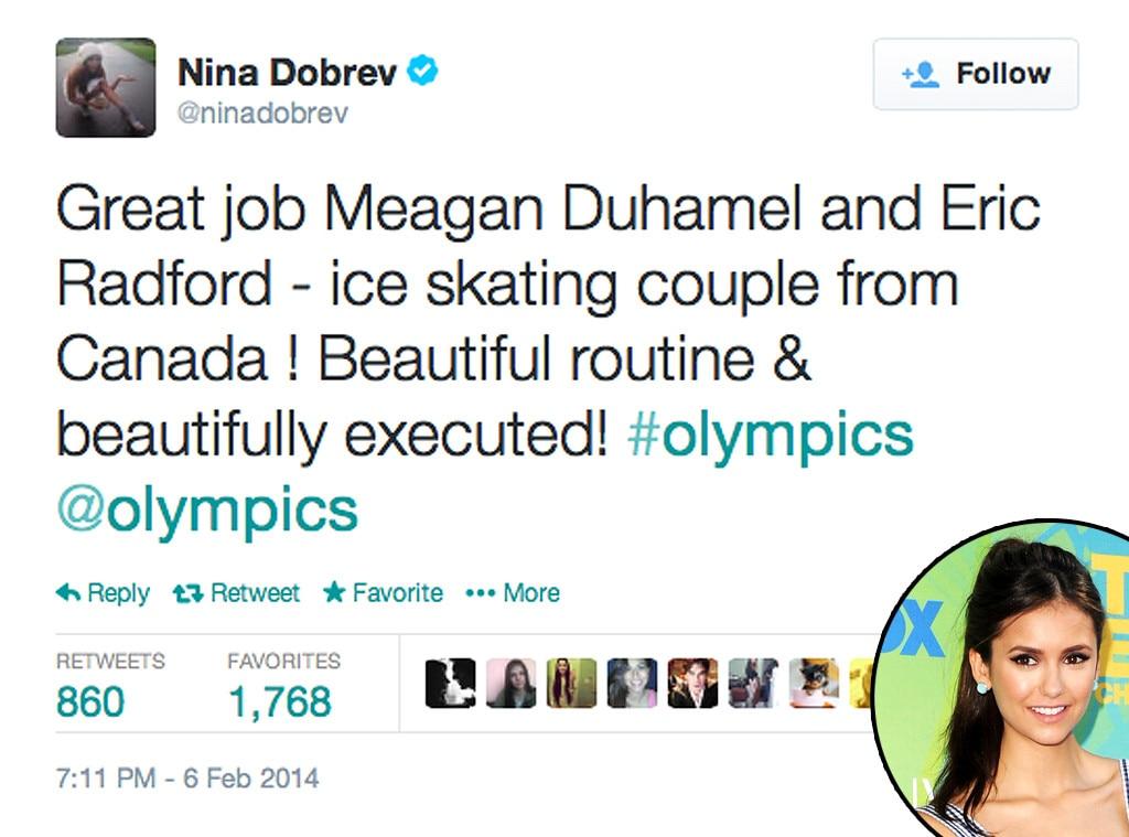 Nina Dobrev, Twitter, Olympic Tweets