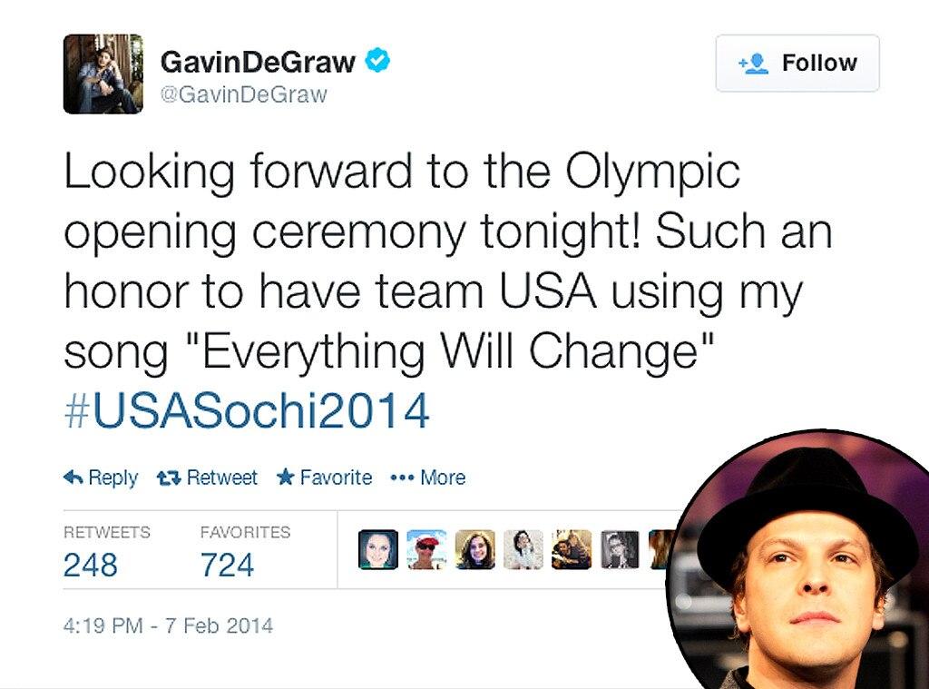 Gavin DeGraw, Twitter, Olympic Tweets