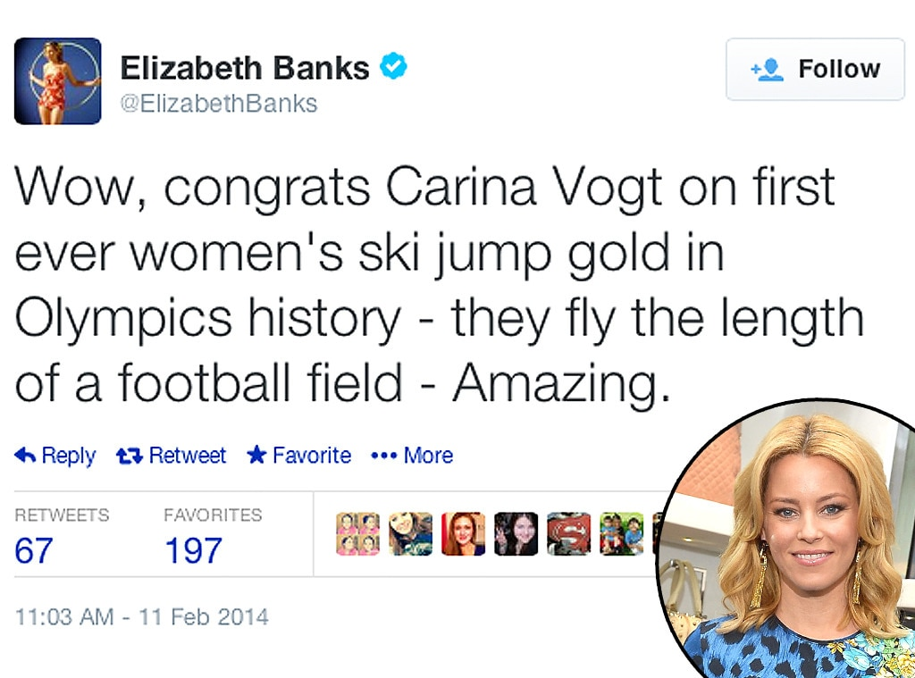 Elizabeth Banks, Olympic Tweets