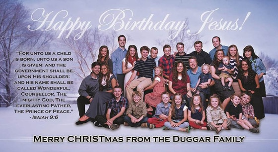 Embargoed till 4pm 12/12- The Duggar Family Christmas Card, Happy Birthday Jesus