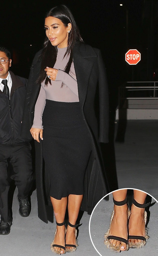 Kim Kardashian Wears Furry High Heels On Date Night With