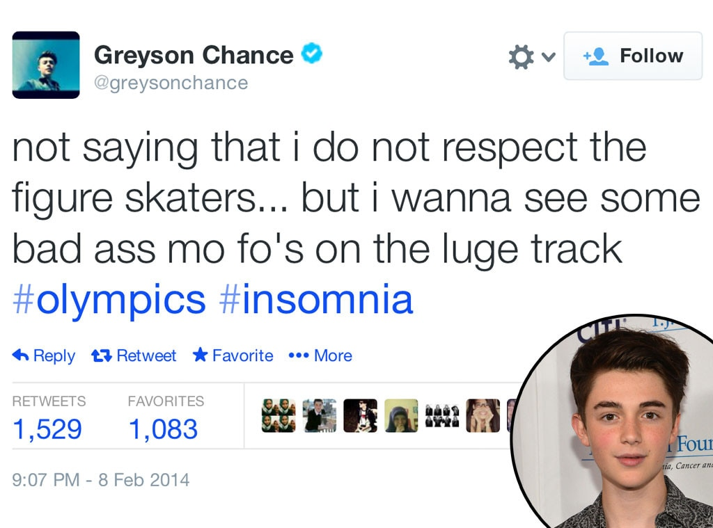 Greyson Chance, Olympic Tweets