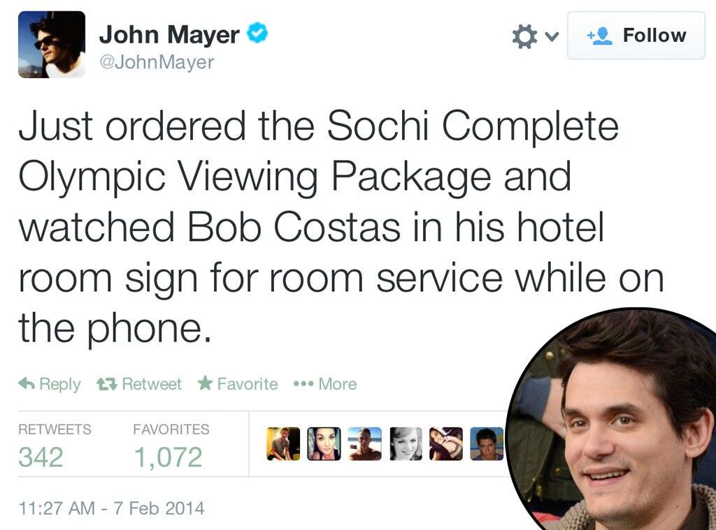 John Mayer, Olympic Tweets