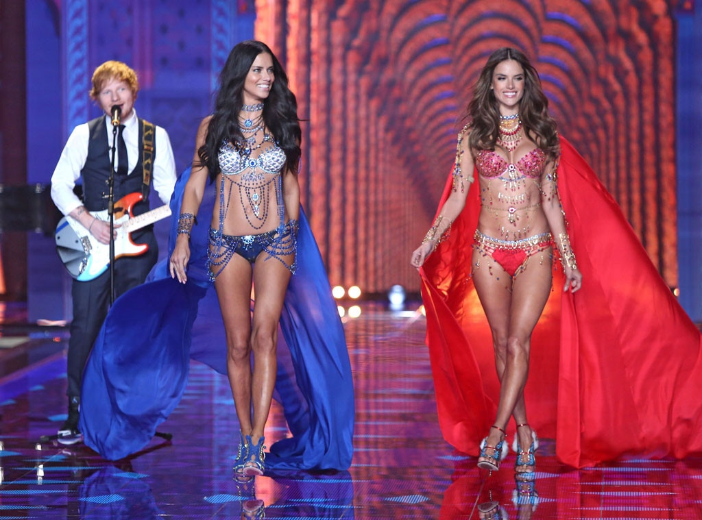 Adriana Lima, Alessandra Ambrosio, Ed Sheeran, Victoria's Secret Fashion Show 2014