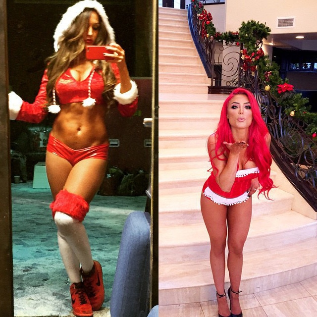 Nikki bella 39 s sexy santa claus outfit eva marie 39 s sultry for Hot christmas pics