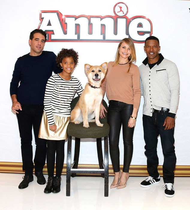 Bobby Cannavale, Quvenzhane Wallis, Sandy the Dog, Cameron Diaz, Jamie Foxx, Annie Cast