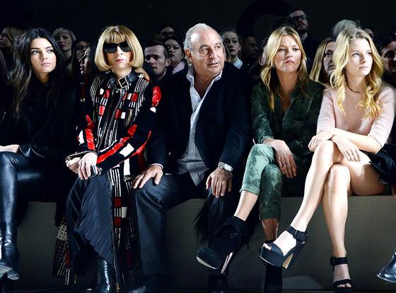 Kendall Jenner, Anna Wintour, Sir Philip Green, Kate Moss, Lottie Moss, Topshop, LFW