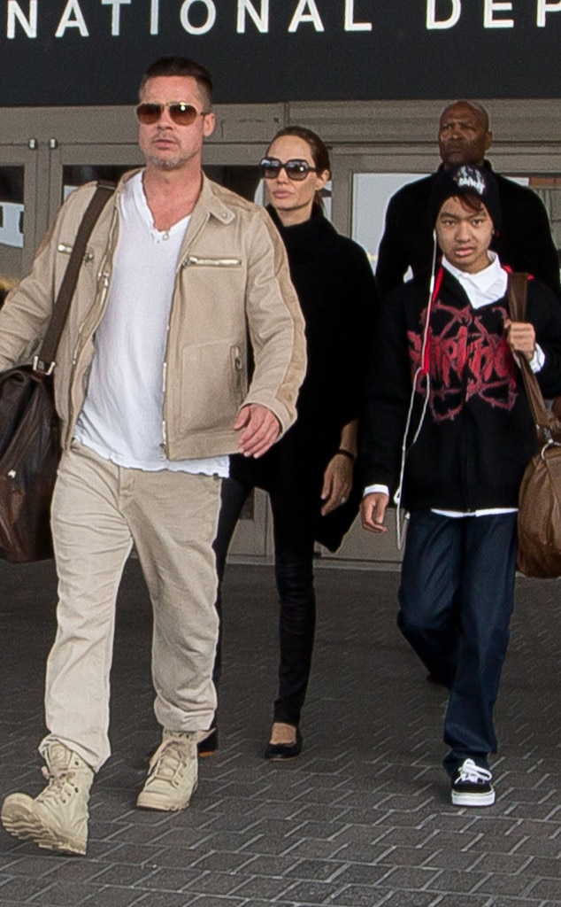 Angelina Jolie, Brad Pitt and Maddox Arrive in LA After ...