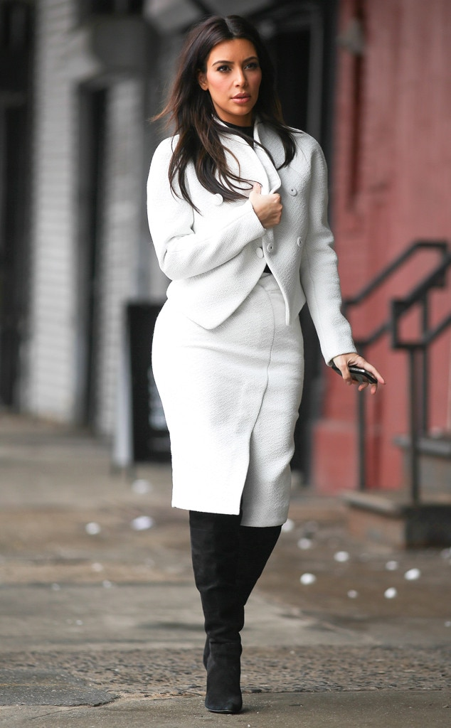 Kim Kardashian Wows In Figure Hugging White Suit Scouts Store Locations In Nyc See The Pic E