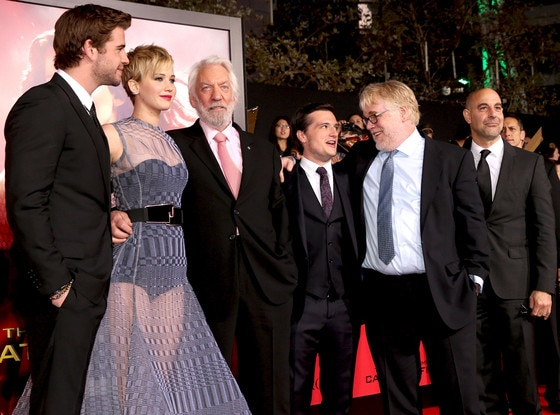 Liam Hemsworth, Jennifer Lawrence, Donald Sutherland, Josh Hutcherson, Philip Seymour Hoffman and Stanley Tucci