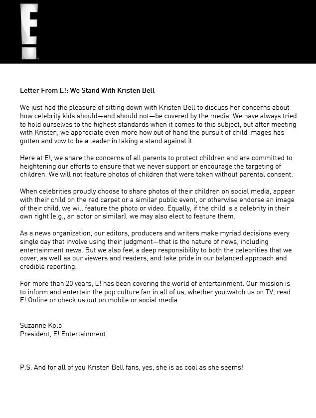 Kristen Bell Letter