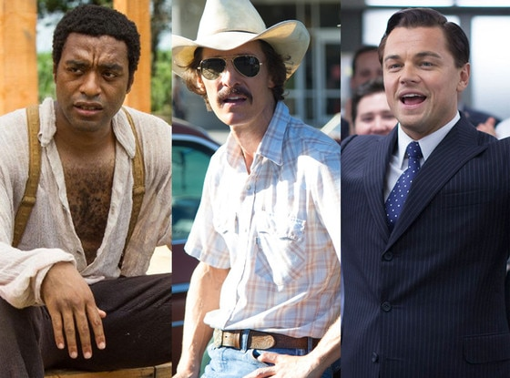The Wolf of Wall Street, Leonardo DiCaprio, Matthew McConaughey, Dallas Buyers Club, Chiwetel Ejiofor, 12 Years a Slave