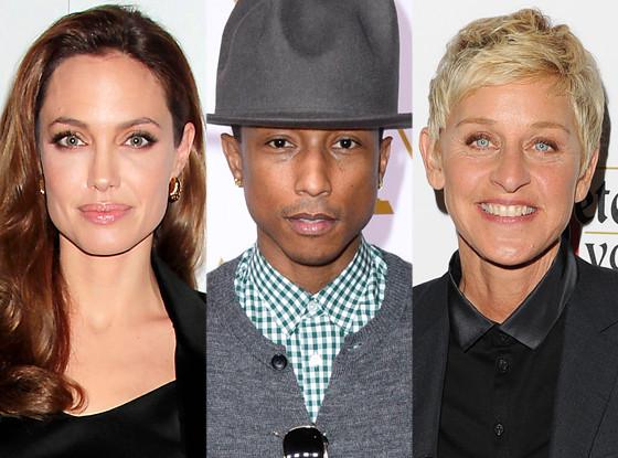 Angelina Jolie, Pharrell Williams, Ellen DeGeneres