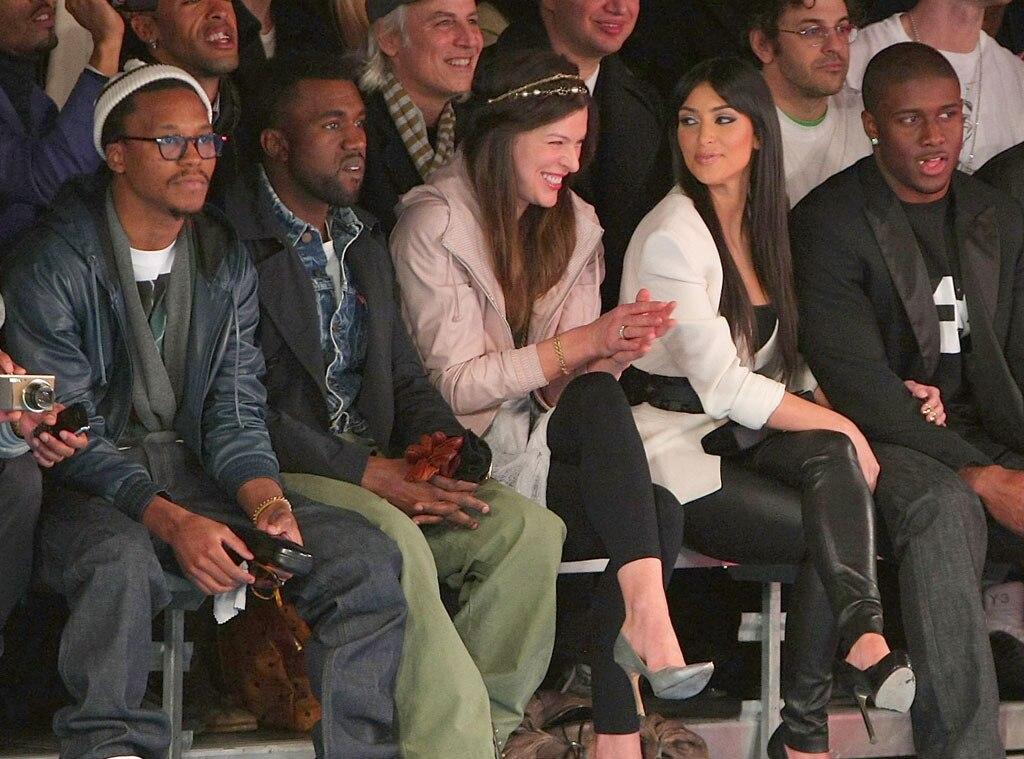 Kanye West, Milla Jovovich, Kim Kardashian, Reggie Bush, Front Row