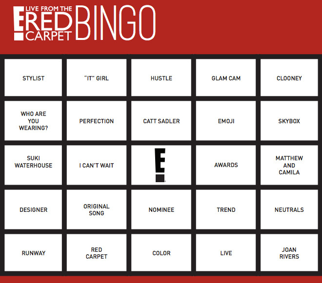 Countdown To The Oscars With Red Carpet Bingo Print Out