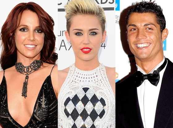 Britney Spears, Miley Cyrus, Cristiano Ronaldo