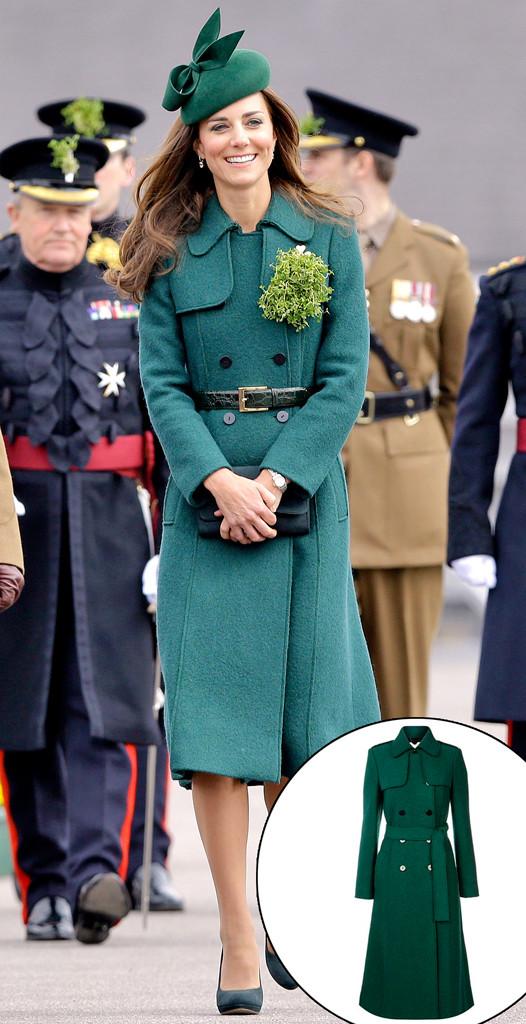 Kate Middleton, Hobbs Green Trench Coat, 2014