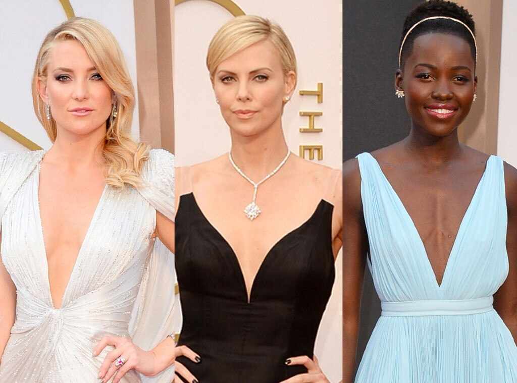 Oscars, Plunging Neckline, Kate Hudson, Charlize Theron, Lupita Nyong'o