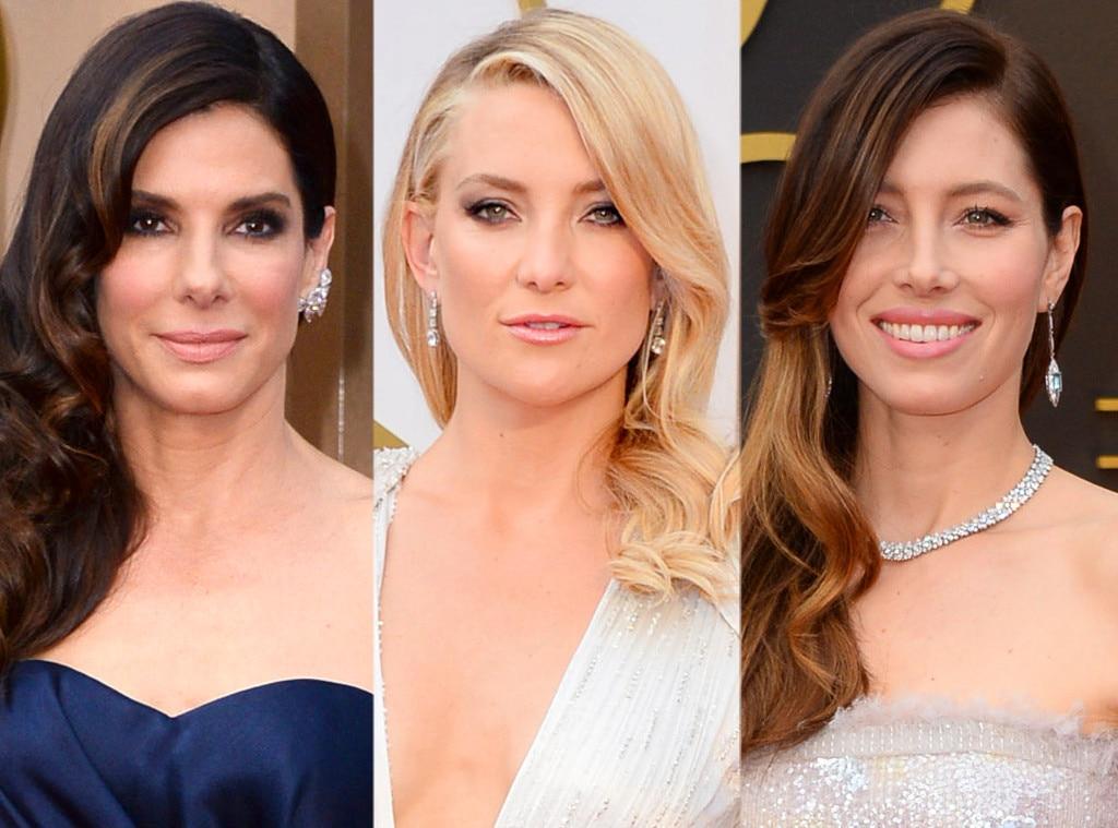 Oscars, Sideswept Waves, Sandra Bullock, Kate Hudson, Jessica Biel