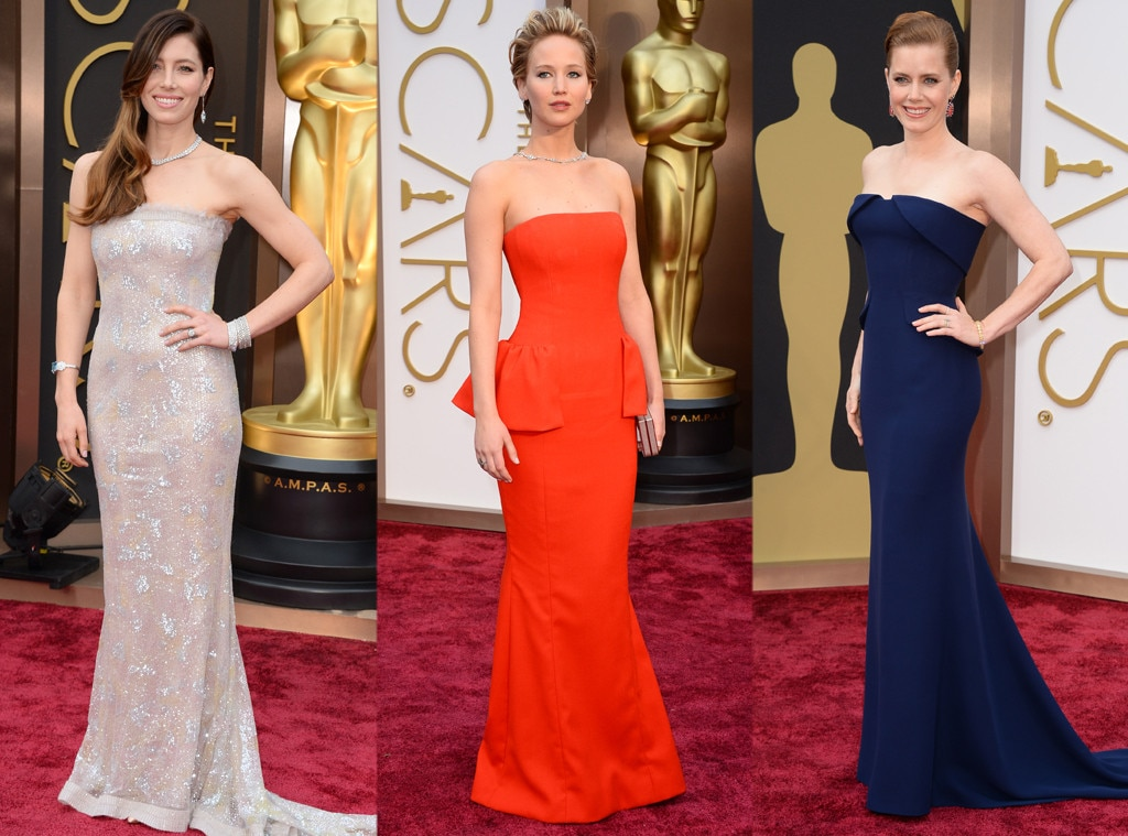 Oscars, Strapless, Jessica Biel, Jennifer Lawrence, Amy Adams