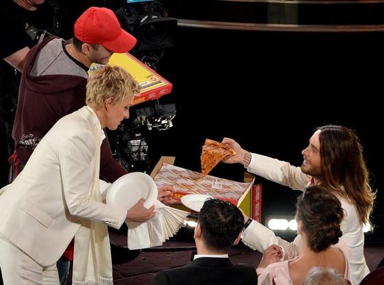 Ellen DeGeneres, Jared Leto, Oscars, Pizza