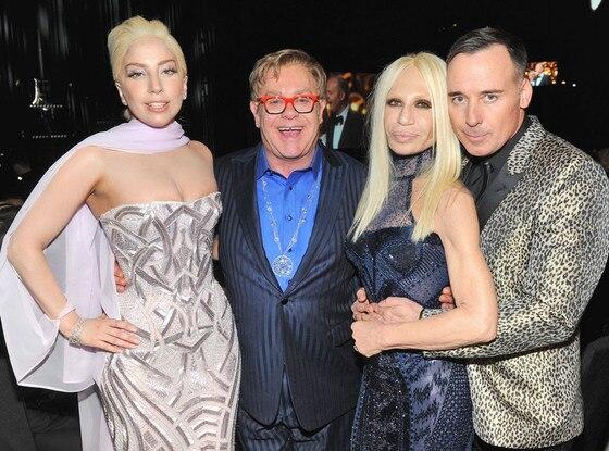 Lady Gaga, Sir Elton John, Donatella Versace, David Furnish, Oscars Elton John Party 2014