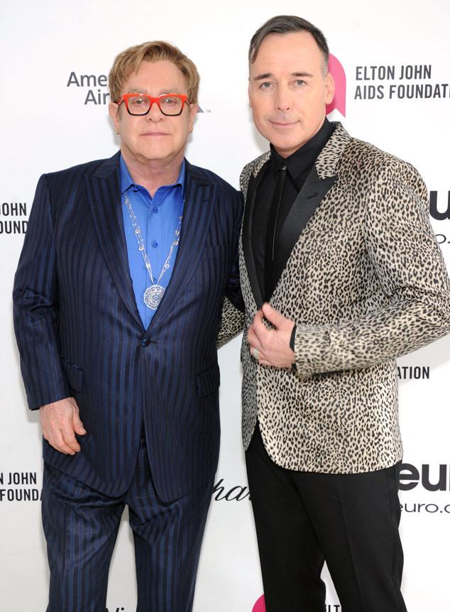 Sir Elton John, David Furnish, Oscars Elton John Party 2014