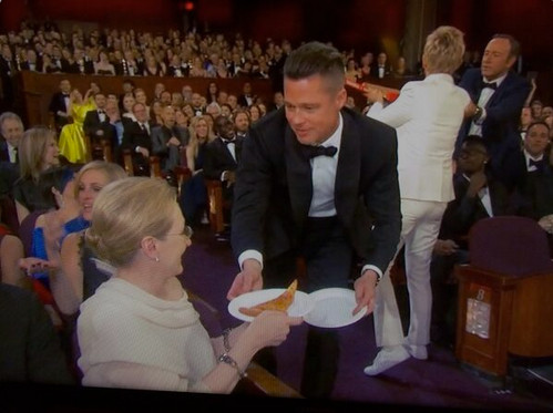 Pizza Party, 2014 Oscars, Meryl Streep, Brad Pitt