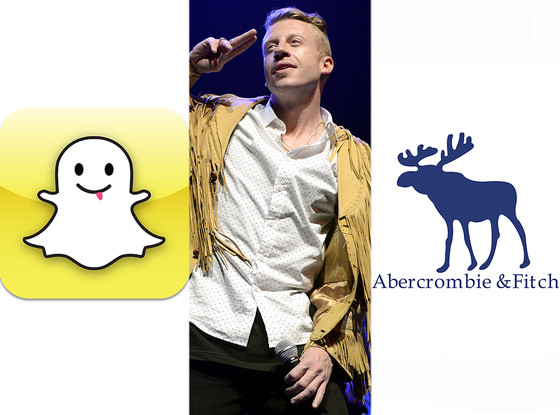 Snapchat logo, Macklemore, Abercrombie and Fitch logo