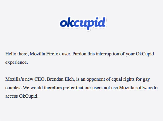 OkCupid vs. Firefox