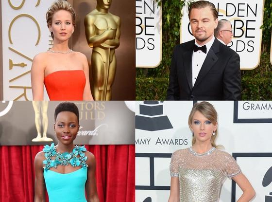 Jennifer Lawrence, Leonardo DiCaprio, Lupita Nyong'o, Taylor Swift