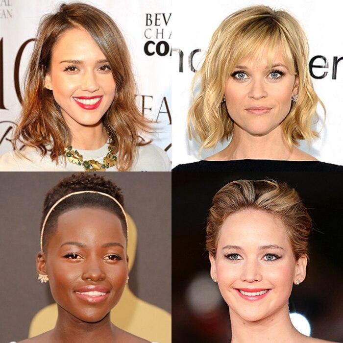 Spring Haircuts, Jessica Alba, Reese Witherspoon, Lupita Nyong'o, Jennifer Lawrence