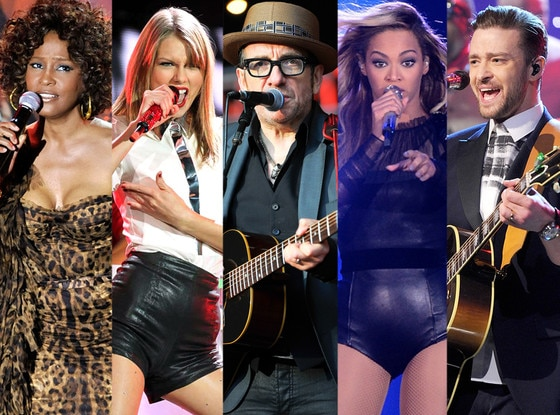 Taylor Swift, Beyonce, Elvis Costello, Whitney Houston, Justin Timberlake