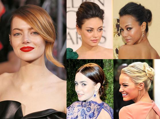 Emma Stone, Mila Kunis, Zoe Saldana, Lily Collins, Mara Roszack Hair