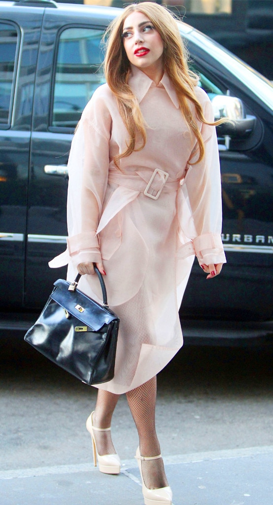 Lady Gaga Is Classic Gorgeous in a Pale Pink Coat on Fashion