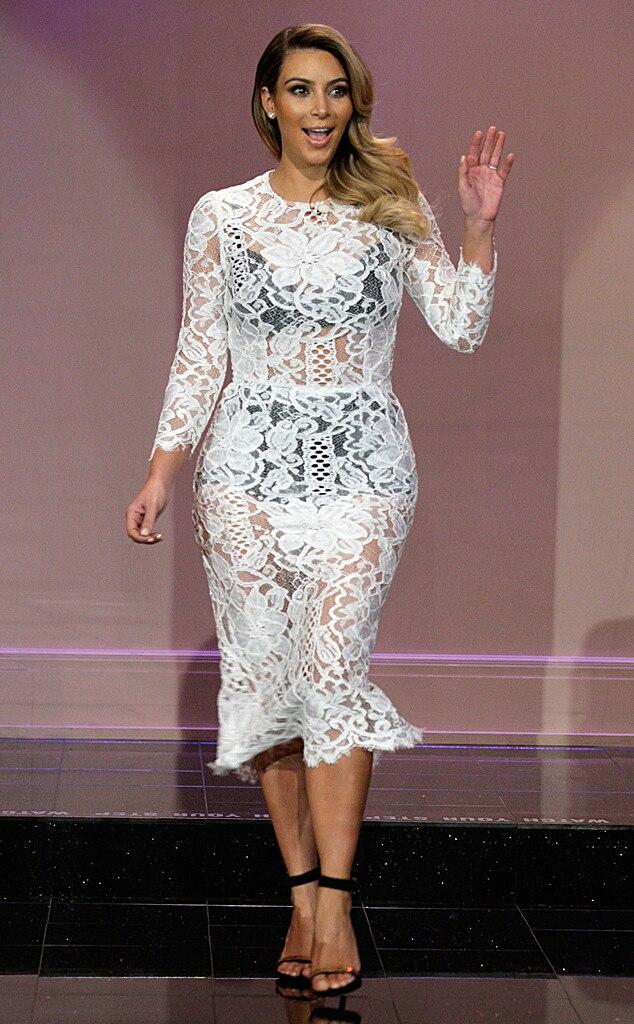 peek a boo from kim kardashian 39 s white dresses e news. Black Bedroom Furniture Sets. Home Design Ideas