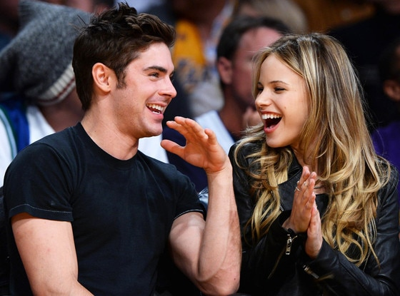 Boyfriend Zac Efron with present girlfriend Halston Sage in LA Lakers game