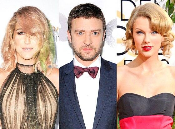 Kesha, Justin Timberlake, Taylor Swift