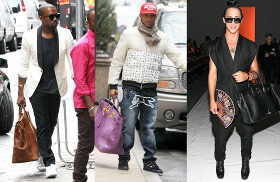 Kanye West, Pharrell Williams, Johnny Weir, Man Bags