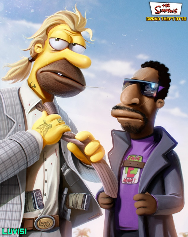 Homer, Simpsons, Grand Theft Otto, Dan Luvisi Art