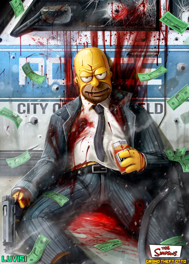 Homer, Simpsons, Grand Theft Otto, Dan Luvisi Art