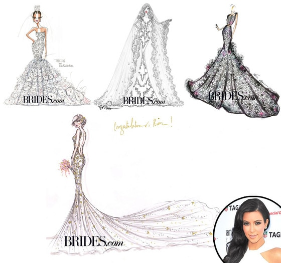 Kimyes Something Borrowed, Kim Kardashian, Bridal Dress Sketches