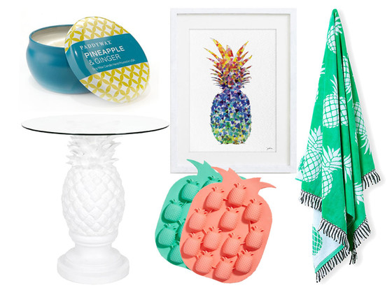 Pineapple home decor collage