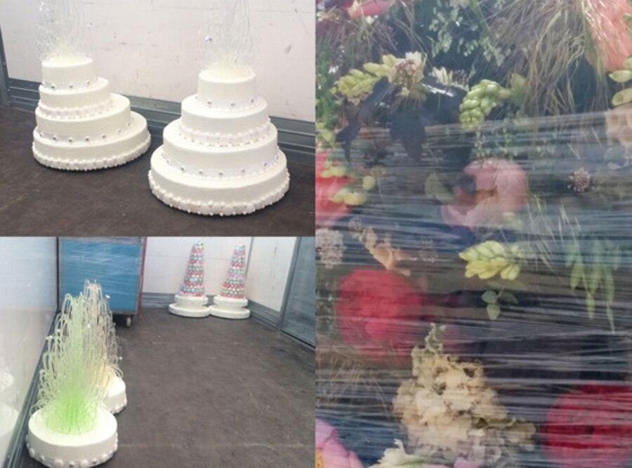 Kim Kardashian, Kanye West, Versailles, Flowers, Cake