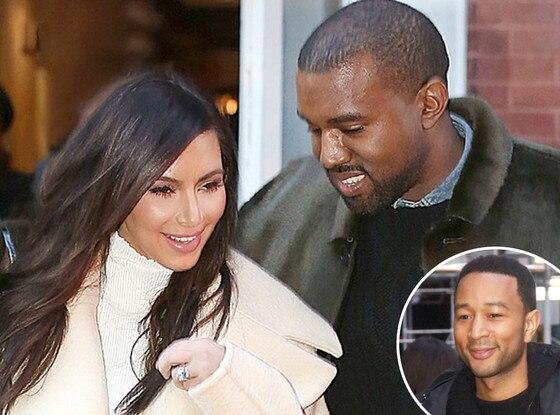 Kim Kardashian, Kanye West, John Legend