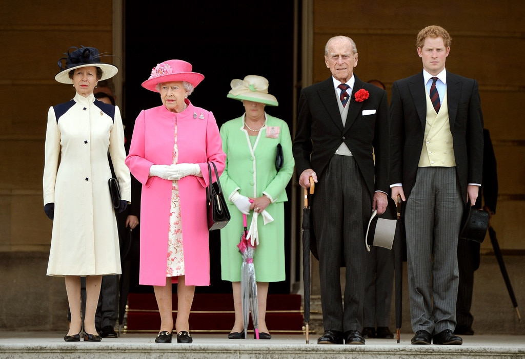 Queen Elizabeth II, Prince Philip, Prince Harry, Princess Anne