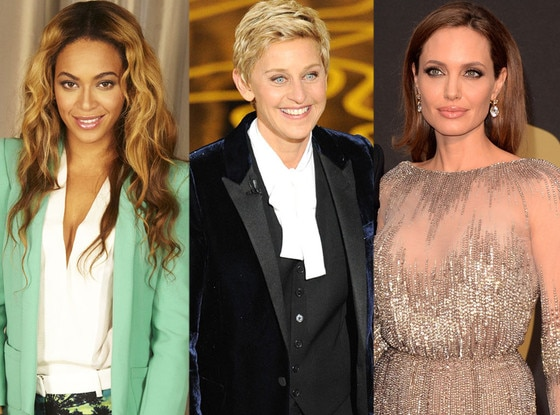 Beyonce, Ellen Degeneres, Angelina Jolie